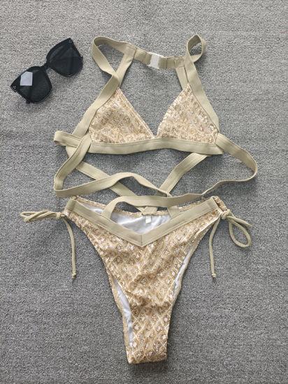 2021 Fashion Sexy Ladies Sequin Buckle Brazil One Piece Party Bikini