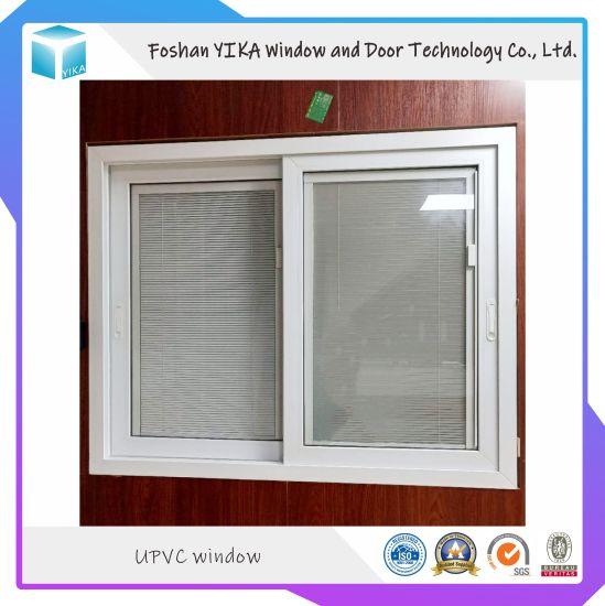 India Popular Design Magnet Blinds Inside Double Glass UPVC Window