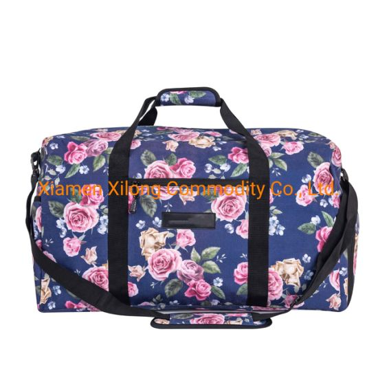 Customized Large Capacity Waterproof Polyester Rose Flower Trave Luggage Sport Duffle Bag for Traveling