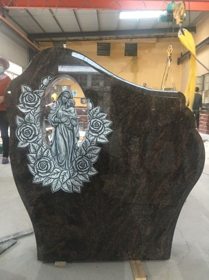 China Black Granite Tombstone with Carved Flowers Headstone