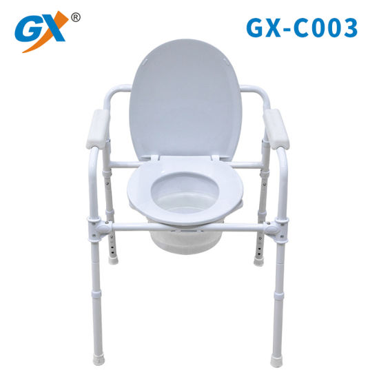 Commode Chair for Toilet with Padded Armrests, portable Toilet Chair for Eladerly Without Wheels