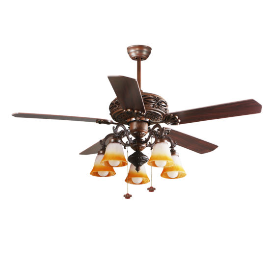 China Uae Strong Air Fllow Decorative Wood Blade Ceiling Fan With Light China Retro Ceiling Fan Light And Ceiling Fan With E27 Lamp Holder Light Price