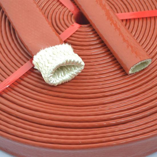 Large Diameter E-Grade Colorful Silicone Rubber Coated Fiberglass Fire Sleeves