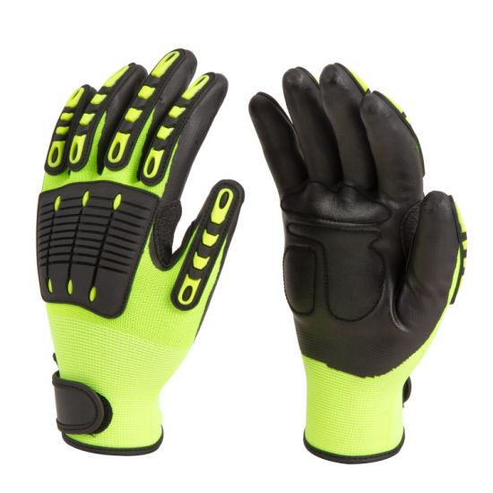 Foam Nitrile Palm Coated Anti Impact and Anti Vibration Protective Work Safety Glove with TPR on Back