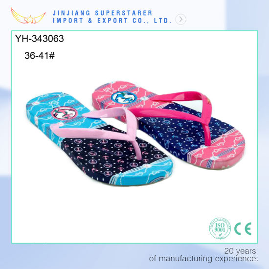 82946d7a4296 China Latest Design Funky PE Flip Flops Lady with Cool Insole ...