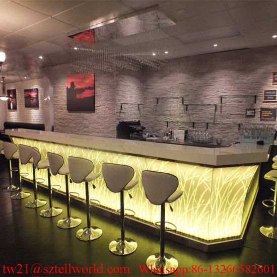 China Prefab Led Coffee Shop Interior Furniture Bar Counter For Sale
