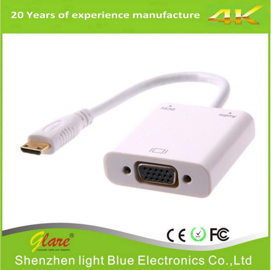 Wholesale Mini HDMI to VGA Converter Cable Support 1080P for Mac Book pictures & photos
