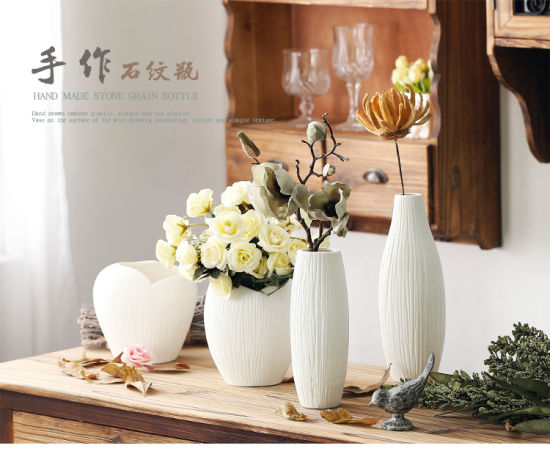 China Antique Ceramic Wedding Decorative Vase Modern White Ceramic