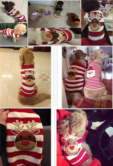 Christmas Pet Products Reindeer Knitting Dog Sweaters pictures & photos