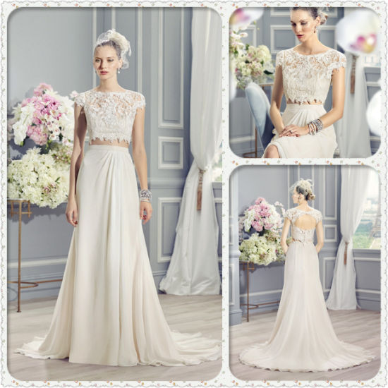 China French Lace Appliques Keyhole Two-Piece Boho-Chic Wedding ...