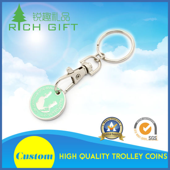 Light Blue Metal Keyring Challenge Enamel Euro Trolley Token Coin Key Ring in Circular Shape for Wholesale pictures & photos