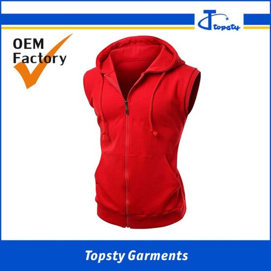 Custom Men′s Sport Zipper up Fleece Cotton Sleeveless Hoody pictures & photos