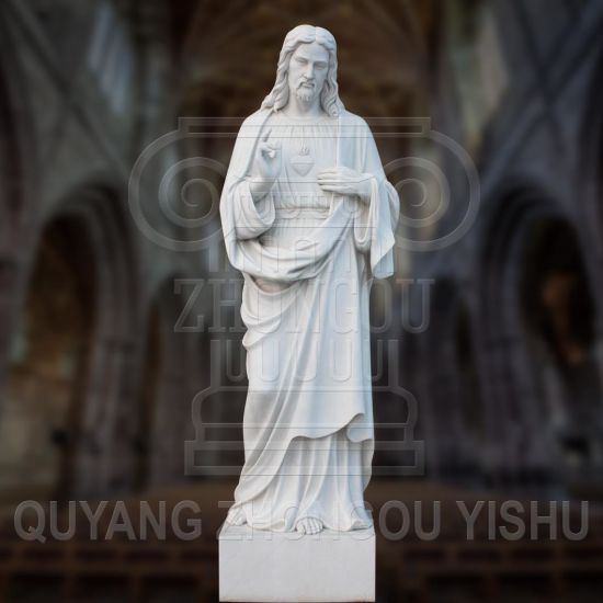 Hand-Carved Marble Sculpture Jesus Religious Statue for Church and Garden Decoration