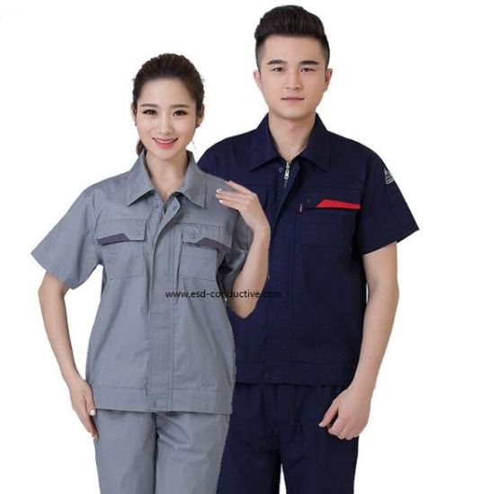 Short Sleeve Polyester Cotton Anti-Static Work Wear ESD Safe Uniform