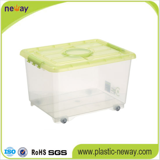 China Large Transparent Plastic Storage Box with Wheels China