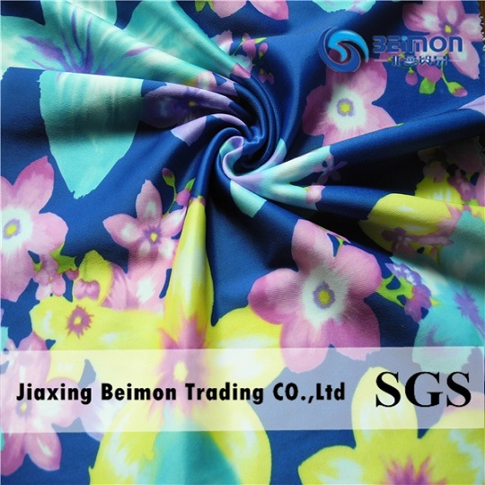 Beautiful Design &Hot Transfer Printing & Nylon Spandex Fabric Satin for Swimwear