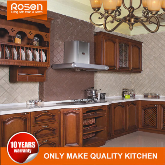 Cherry Solid Wooden Kitchen Cabinets Furniture with Europen Style