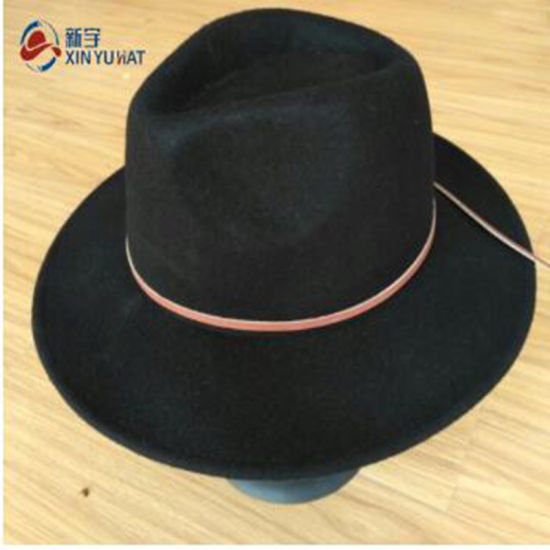 260cd4fe1 China Wholesale Wide Brim Black Wool Felt Fedora Hats for Women ...