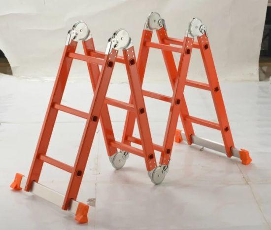 SGS 4X3 Steps Folding Aluminium Multi-Purpose Ladder with Small Hinges