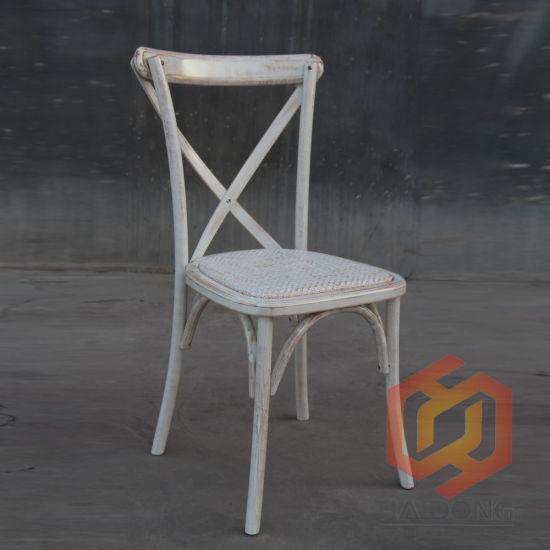 Beech Oak Wooden Cross Back Rattan Chair for Event Dining