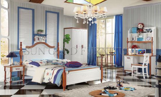 Furniture Bedroom Double Bed Design Used Kids Bedroom Sets (SZ-BT905)