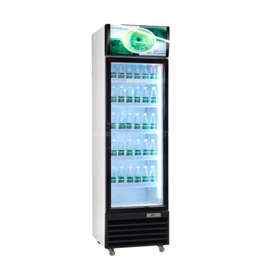 China Commercial Beverage Chiller Soft Drink Refrigerator With Glass