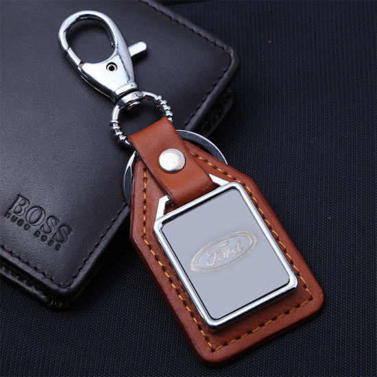 Custom Black Leather Keychain with Custom Icon pictures & photos