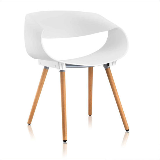 Wholesale Modern Plastic PP Dining Leisure Chair with Wood Base (087A)