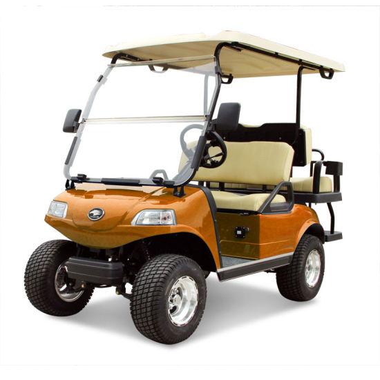 Golf Cart 2+2-Seater Electric Cart Orange Utility Vehicle