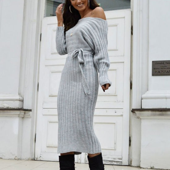 Fashion Solid Color Sweater Knitted Strap Dress Women Dress Women Clothes
