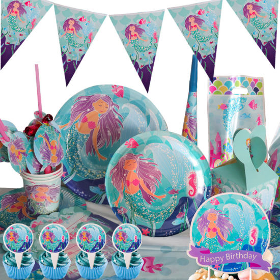 Fishtail Birthday Party Paper New Mermaid Blue Mermaid Suit Girl′ S Birthday Party Set