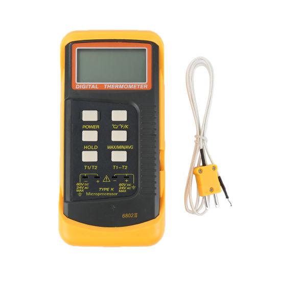 6802 II Dual Channel Digital Thermometer with 2 K-Type Thermocouple Sensor Probe for BGA Rework HVAC 1300