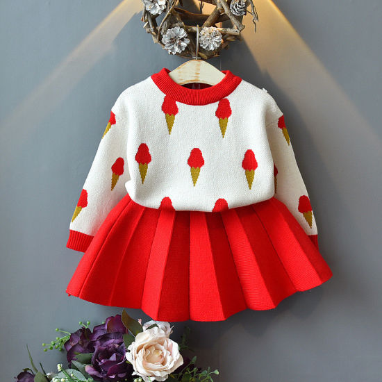 Fashion and Cute New Sweater Skirt Suit Girls Dress Clothes