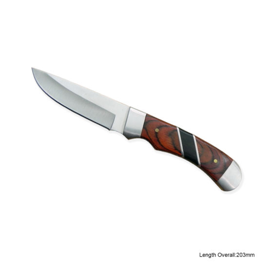 Fixed-Blade Knife with Wooden Handle (#3409)