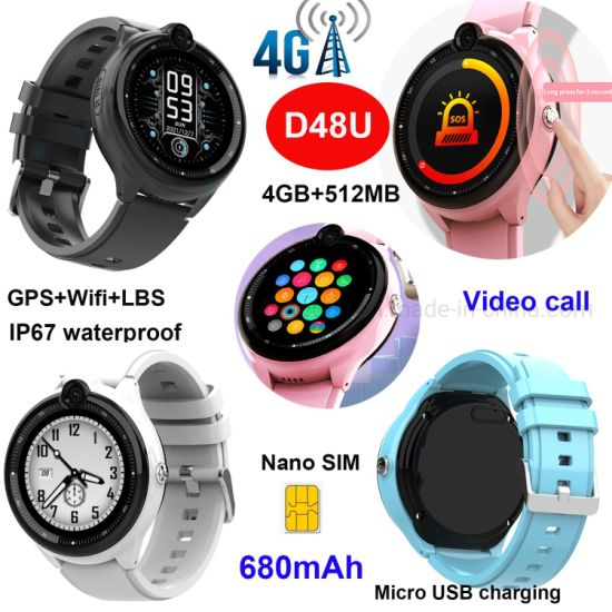 Fashion Quality 4G IP67 Waterproof SIM Card Smart Phone Call Child Safe WiFi GPS Tracker Camera Smartwatch Mobile Phone D48U