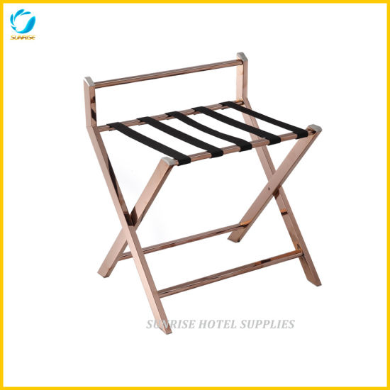 New Arrival 5 Star Hotel Gold Chrome Luggage Rack