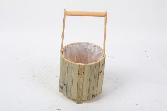 New Design Handmade Round Shape Wooden Craft with Handle