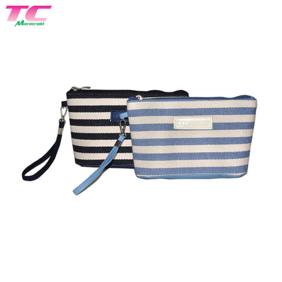 Morecredit Stripe Portable Fabric Coin Bag Ladies Travel Makeup Cosmetic Bag with PU Leather Handle