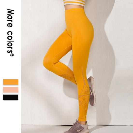 Wholesale Customized Fitness Clothing Nylon Spandex Seamless Yoga Pants Capri Leggings