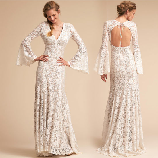 A-Line Bridal Gowns Beach Lace Trumpt Boho Wedding Dress Wd81