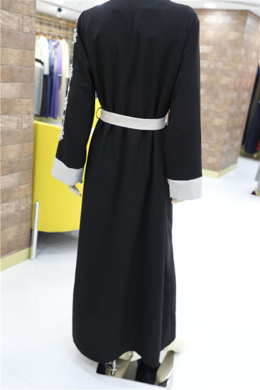 5bdc842aa44c Elegant Muslim Women Clothes Long Sleeve Chiffon Coat Abaya Long Front Open  Dress