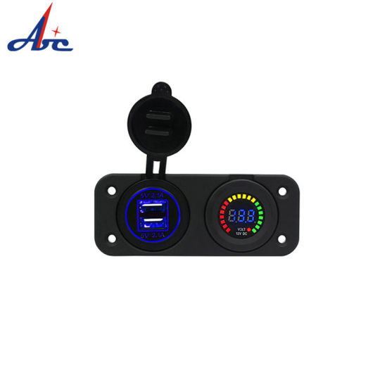Dual Double USB Socket Cover Colorful LED Voltmeter