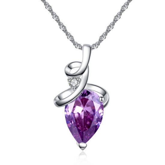 European and American Fashion Drop Shaped Two Color Crystal Stone Zircon Pendant Necklace