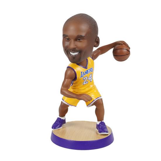 18 Cm Polyresin NBA Baller Kobe Action Figure Bobble Head with Round Base