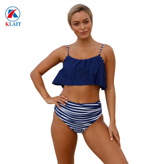 44b0dd10966d5 Sexy Two-Piece Padded Blue Push up Bandeau High Waist Female Biquini Bikini