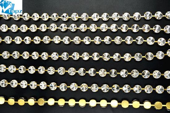 Brass Cup Chain Glass Chaton Rhinestone Chain K9 Crystal for Dress (Round-Crystal clear)
