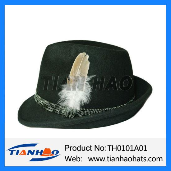 228dd00a86a Oktoberfest Bavarian German Alpine Style Hat Wool Felt Mountain Fedora Hat  with Feather