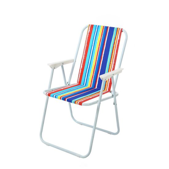 Folding Spring Chair for Seaside with Multicolored Stripes
