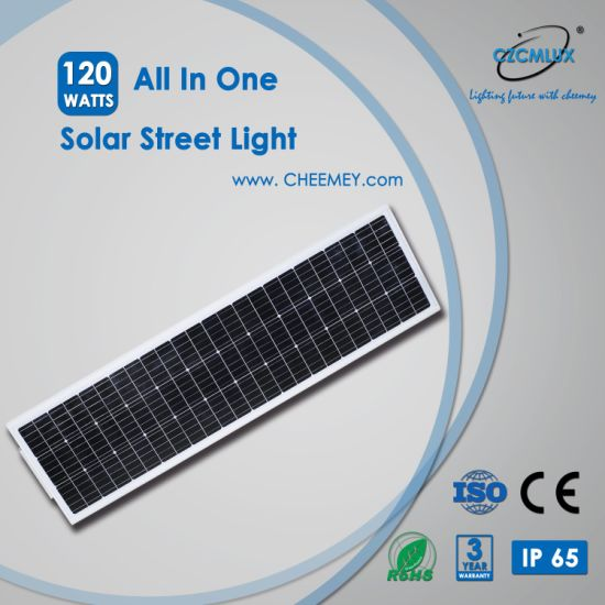 120W High Power All in One Solar Street Light for Project with 3-5 Years Warranty