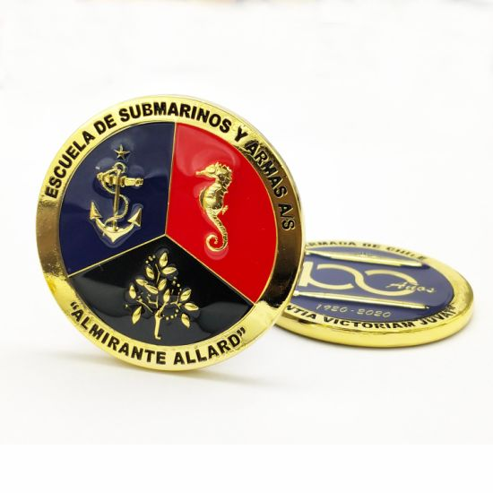 China Factory Custom Metal Art Craft 3d Logo Epoxy Gold Coins Laser Marking Name Tag Chile Navy Military Honor Souvenir Challenge Coins China Challenge Coin And Chile Navy Challenge Coin Price